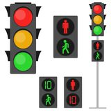 Traffic lights, traffic lights for pedestrians. Pedestrian traffic light. Flat design, vector illustration, vector royalty free illustration
