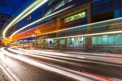 Traffic lights trails in Dublin city centre Stock Images