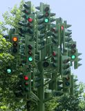 Traffic lights tree multiple traffic lights on a sculpture stock photo