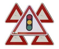 Traffic lights triangular sign Royalty Free Stock Image