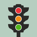Traffic lights. Vector icon on green background royalty free illustration