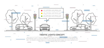 Traffic lights vector illustration with decorative element. S. Street semaphores with cars creative line art concept. Electric stoplights, traffic lamps graphic Stock Photos