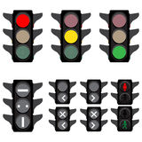 Traffic lights. Vector illustration of traffic lights semaphores for cars trains buses and walkers Royalty Free Stock Image