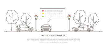 Traffic lights vector illustration. Street semaphores with cars creative line art concept. Electric stoplights, traffic lamps graphic design Royalty Free Stock Photos