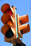 Traffic lights with the yellow light lit Stock Image