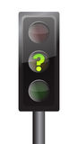 Traffic lights with yellow question mark signal Stock Images