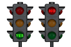Traffic Lights with Yes and No Signs Stock Image