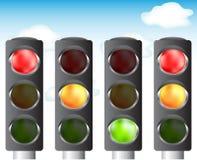 Traffic lights for your design. Traffic lights set, sky background,  illustration Stock Photo