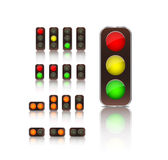 Traffic ligth icon set Royalty Free Stock Photos