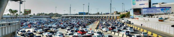 Traffic lines at border control at San Ysidro, entering USA from stock photography