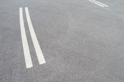 Traffic lines. Double white lines painted on the road in Poland Stock Image
