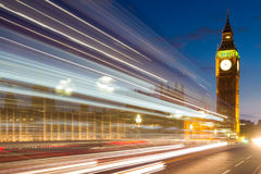 Traffic lines in front of Big Ben Royalty Free Stock Images