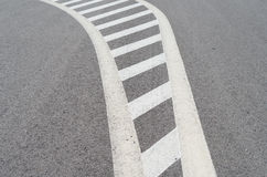 Traffic lines. White lines painted on the road in Poland Stock Images
