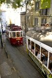 Traffic in Lissabon. People on trams in Lissabon Royalty Free Stock Photos