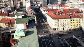 Traffic in Ljubljana from above. Still shot of traffic in Ljubljana from above stock footage
