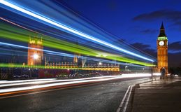 Traffic through London. (long exposure leading to trail of lights Stock Images