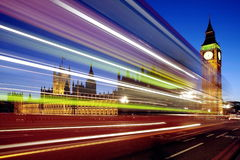 Traffic through London (long exposure leading to trail of lights) Stock Images