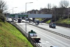 Traffic on a london`s motorway. This motorway is one of London`s busiest roads leading from the blackwall tunnel to connecting motorways in England royalty free stock photography