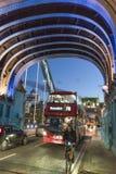 Traffic on London Tower Bridge - London England  UK Stock Photo