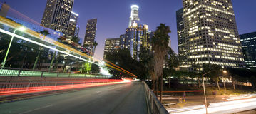 Traffic through Los Angeles financial district Stock Photo