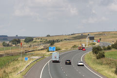Traffic on M6 motorway northbound carriageway Shap. View from a roadbridge looking along the northbound carriageway of the M6 motorway just north of Tebay Royalty Free Stock Image