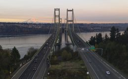 Aerial View Tacoma Narrows Bridges over Puget Sound Mount Rainier royalty free stock images