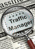 Traffic Manager Job Vacancy. 3D. Traffic Manager - CloseUp View of Jobs Section Vacancy in Newspaper with Loupe. Traffic Manager - Close Up View Of A Royalty Free Stock Image