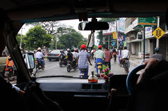 Traffic in Mandalay, Myanmar royalty free stock image