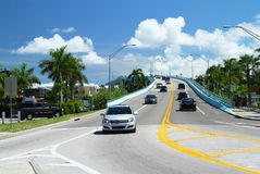 Traffic on the Mantanzas Pass Bridge in Fort Myers Beach, Florida stock image