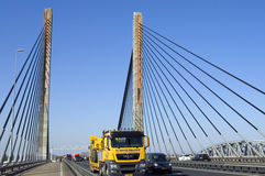 Traffic on Martinus Nijhoff Bridge on A2 motorway Royalty Free Stock Image