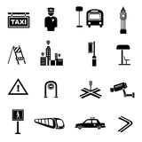 Traffic and metropolis icons Stock Photos