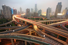 Traffic with modern building Stock Images