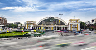 Traffic in modern city, Bangkok central train station (Hua Lamphong Railway Station) Thailand. Royalty Free Stock Images
