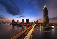 Traffic in modern city, Chao Phraya River,  Bangkok, Thailand. Royalty Free Stock Photos