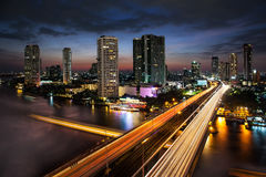 Traffic in modern city, Chao Phraya River,  Bangkok, Thailand. Stock Image