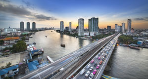 Traffic in modern city, Chao Phraya River,  Bangkok, Thailand. Stock Photography
