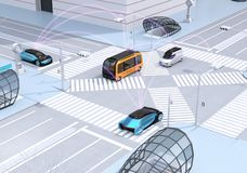 Traffic in modern city intersection. Self driving sedan, delivery van and bus connected each other with pink curve. Connected cars concept. 3D rendering image stock illustration