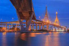 Traffic in modern city at night , Bhumibol Bridge, Bangkok, Thailand Royalty Free Stock Photo