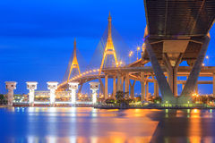 Traffic in modern city at night , Bhumibol Bridge, Bangkok, Thailand Stock Photos
