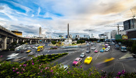 Traffic in modern city, Victory Monument in Bangkok, Thailand. Stock Photos