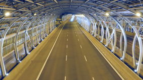 Traffic in modern tunnel. Timelapse stock video footage