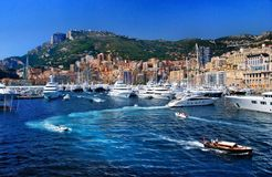Traffic boats and yachts off the coast of the Kingdom of Monaco Stock Photos