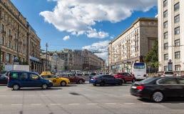 Traffic in Moscow. Traffic in the beginning of Tverskaya street Royalty Free Stock Image
