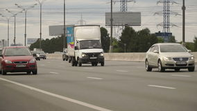 Traffic on the Moscow ring road. Cloudy day. Traffic on the Moscow ring road. Cloudy day in summer stock footage