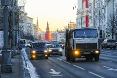 traffic on Moscow street royalty free stock photo