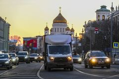 traffic on Moscow street royalty free stock images