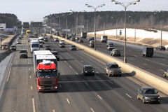Traffic on the Moscower Ring Autoroad. At late autumn Royalty Free Stock Photo