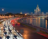 Traffic on Moskvoretskaya waterfront Royalty Free Stock Image