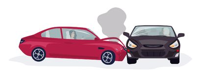 Traffic or motor vehicle accident or car crash isolated on white background. Side collision with two automobiles driven. By women involved. Colorful vector stock illustration