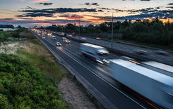 Traffic on the motorway at the dusk time. Traffic on the motorway at the evening time stock photos